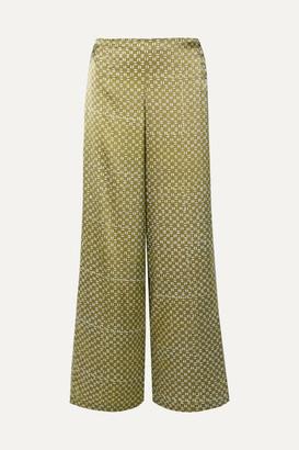 Cloe Cassandro - Coco Printed Silk-satin Wide-leg Pants - Light green