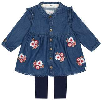 Mantaray Baby Girls' Blue Denim Floral Embroidered Tunic And Leggings Set