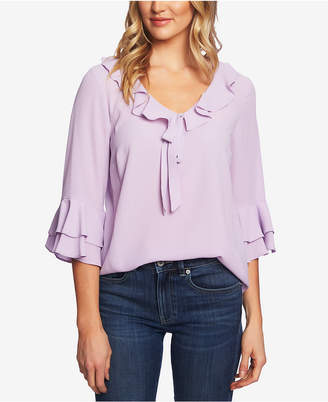 82d463337aaa0 CeCe Ruffled V-Neck Bell-Sleeve Top