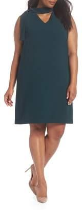 Tahari Neck Sash Crepe Sheath Dress