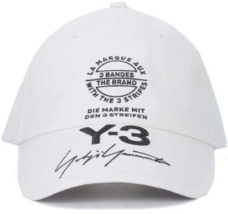 Y-3 White Cotton Cap With Embroidered Graphics