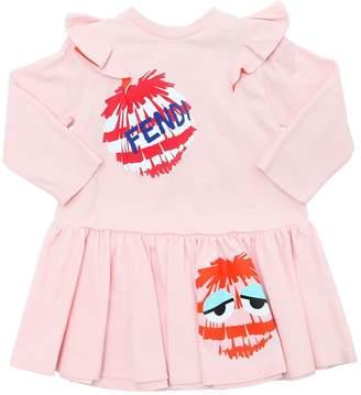 Fendi Pompom Cotton Jersey Dress