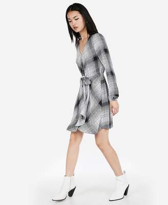 Express Plaid Knotted Faux Wrap Dress