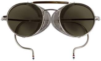 Thom Browne Eyewear Silver Mesh Side Sunglasses