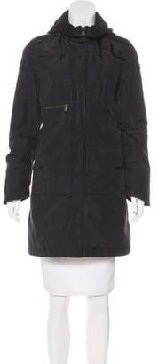 Post Card Hooded Zip-Front Coat