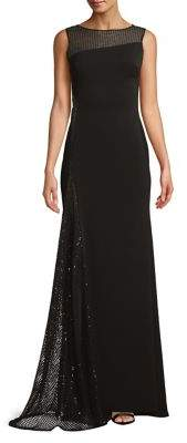 Nicole Bakti Sequined Sleeveless Gown