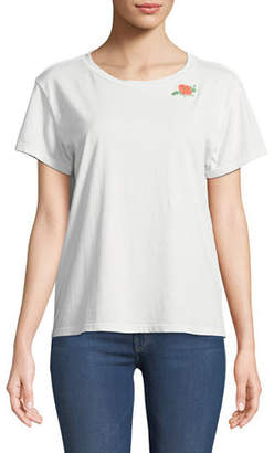 Mother Goodie Goodie Short-Sleeve Boxy Cotton Tee w/ Embroidery