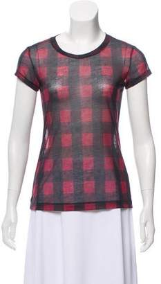 Rag & Bone Plaid Print Short Sleeve Semi-Sheer T-Shirt
