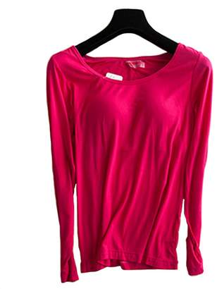 Oulinect Womens Built in Bra T-Shirts Cotton Yoga Top Padded Bra Casual T-Shirts Long Sleeve