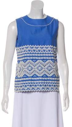Tory Burch Embroidered Sleeveless Top