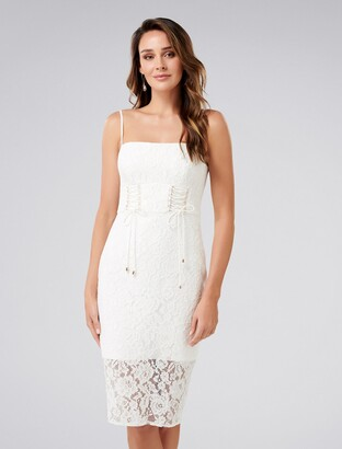 Forever New Emma Corset Front Lace Bodycon Dress - Porcelain - 4