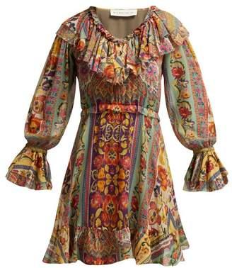 Etro Wonder Fruit Floral Print Silk Dress - Womens - Pink Multi