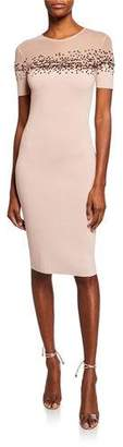Sachin + Babi August Short-Sleeve Bodycon Dress w/ Sheer Yoke & Sequin Detail