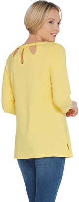 Denim & Co. Active 3/4-Sleeve Knit Tunic with Cutout Detail