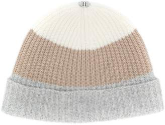 N.Peal colour-block ribbed beanie hat