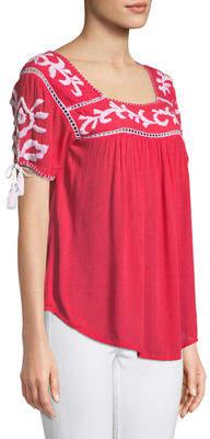 Raj Short-Sleeve Embroidered Peasant Blouse