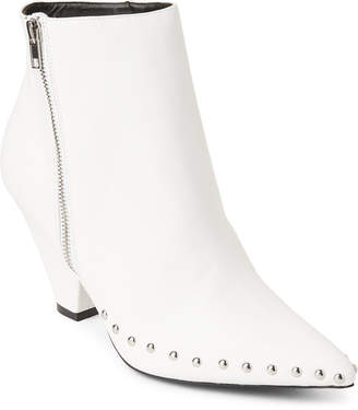 Wild Diva Lounge White Heidi Studded Pointed Toe Booties