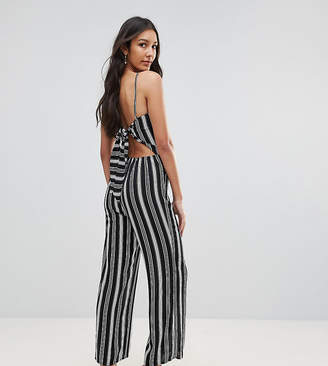 Oh My Love Tall Bow Back Wide Leg Culotte Jumpsuit