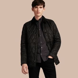 Burberry Check Detail Quilted Jacket with Corduroy Collar $850 thestylecure.com