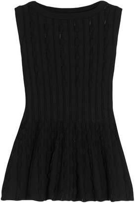 Alaia Open-knit Peplum Top