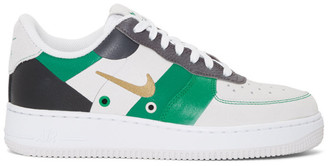 Nike Grey and Green Air Force 1 07 PRM 1FA19 Sneakers