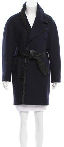 Balenciaga Balenciaga Virgin Wool Leather-Trimmed Coat