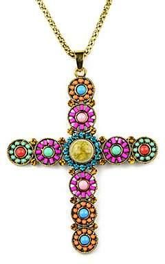 BST Pendant Necklaces BST beadwork handmade jesus cross boho style pendant necklaceNL-2101a,b,c,d,e