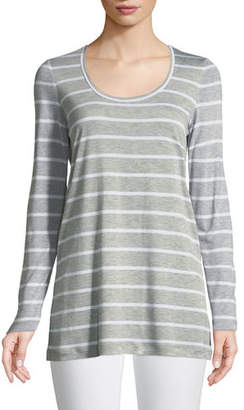 Lafayette 148 New York Striped Featherweight-Jersey Long-Sleeve T-Shirt