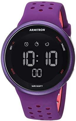 Armitron Sport Unisex 40/8423PUR Light Pink Accented Digital Chronograph Silicone Strap Watch