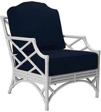 David Francis Furniture Chippendale Outdoor Lounge Chair - Navy