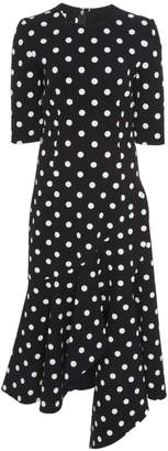 Oscar de la Renta Asymmetric Ruffle Polka Dot Wool-Blend Midi Dress