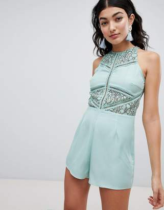 PrettyLittleThing Lace Detail Romper