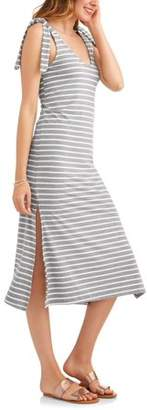 Thyme and Honey Women's Stripe Double V-Neck Tied Shoulder Maxi Dress