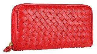Fontanelli Women's Red Italian Woven Leather Concertina Zip Wallet
