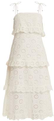 Zimmermann Lunmino Daisy Embroidered Cotton Dress - Womens - Ivory