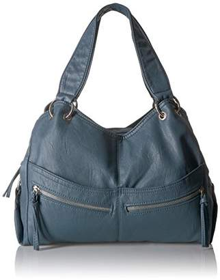 Bueno of California Bueno Textured Faux Leather Washed Double Handle Tote