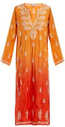 Juliet Dunn Sequin Embroidered Silk Kaftan - Womens - Orange Multi