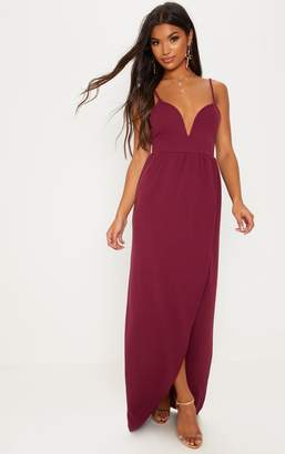 PrettyLittleThing Green V-Bar Split Leg Maxi Dress