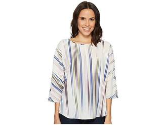 Vince Camuto Elbow Sleeve Colorful Peaks Center Front Seam Blouse Women's Blouse