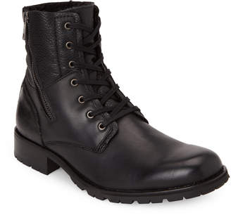 Andrew Marc Black Vesey Sherpa-Line Lace-Up Boots