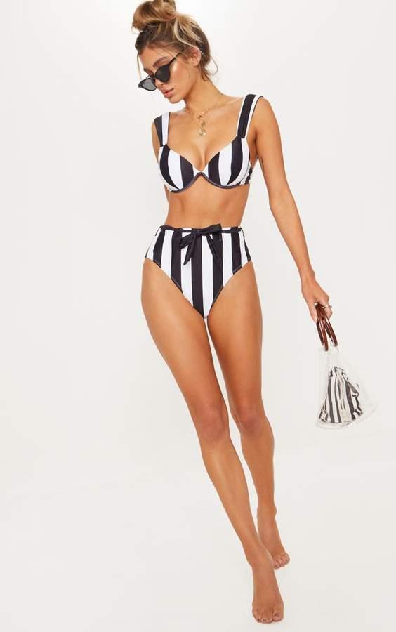 Black & White Stripe Belted Waist Bikini Bottom
