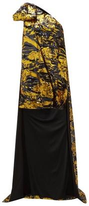 Halpern Asymmetric Abstract Sequinned Mini Dress - Womens - Gold Multi