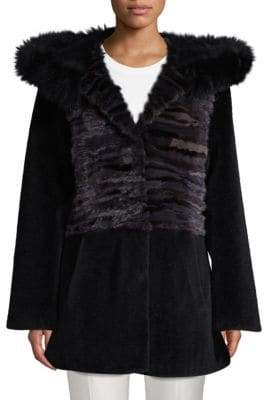 Blue Duck Hooded Mink, Fox Fur & Lamb Shearling Jacket