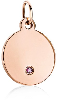 Tiffany & Co. & Co. Charms round tag charm in 18k rose gold with a ruby, mini