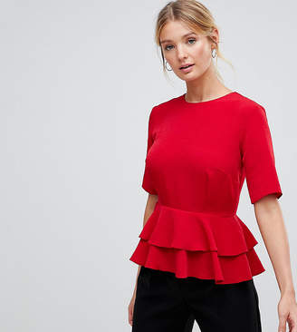 Asos Tall DESIGN TALL Fuller Bust Double Pephem Top