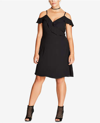 City Chic Trendy Plus Size Off-The-Shoulder Dress $89 thestylecure.com