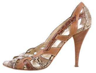 Prada Snakeskin-Trimmed Cutout Sandals