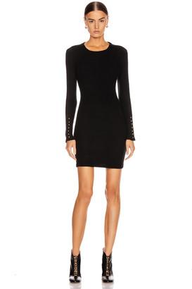 Enza Costa Sweater Knit Button Cuff Mini Dress in Black | FWRD