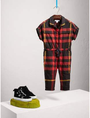Burberry Short-sleeve Check Cotton Flannel Jumpsuit