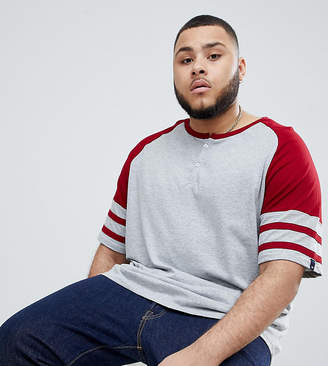 BadRhino Big Short Sleeve Grandad Baseball T-Shirt In Red